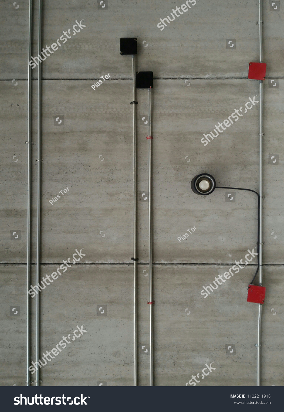 Exposed Electrical Metal Conduit Downlight Installation Stock Photo For Safe Wiring Explained By An And On Bottom Of Dirty Stained Streaky Bare Concrete Plank