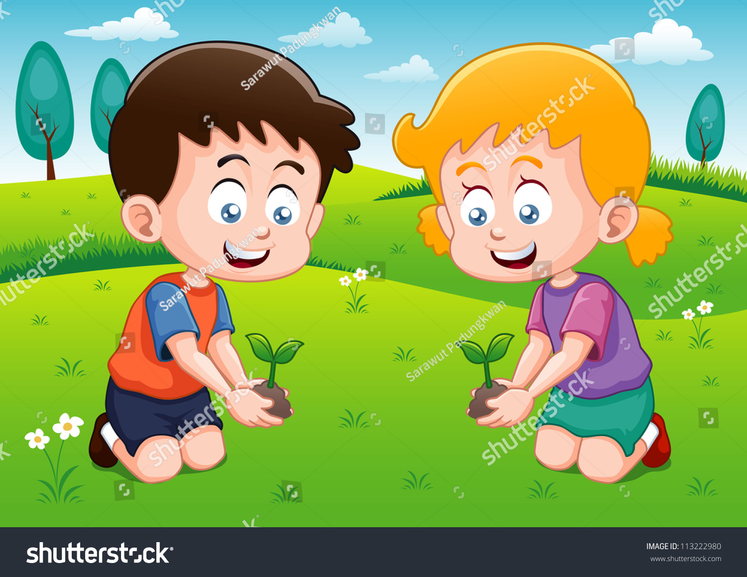 Playing garden drawing for kids - Little Kids Is Planting Small Plant In Garden