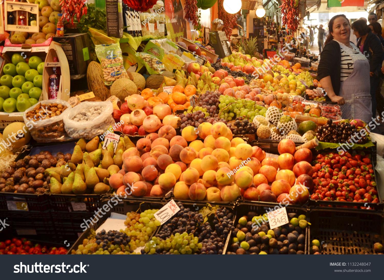 Porto Portugal OCT 18 2017 Happy Fruit Stall Stock Photo