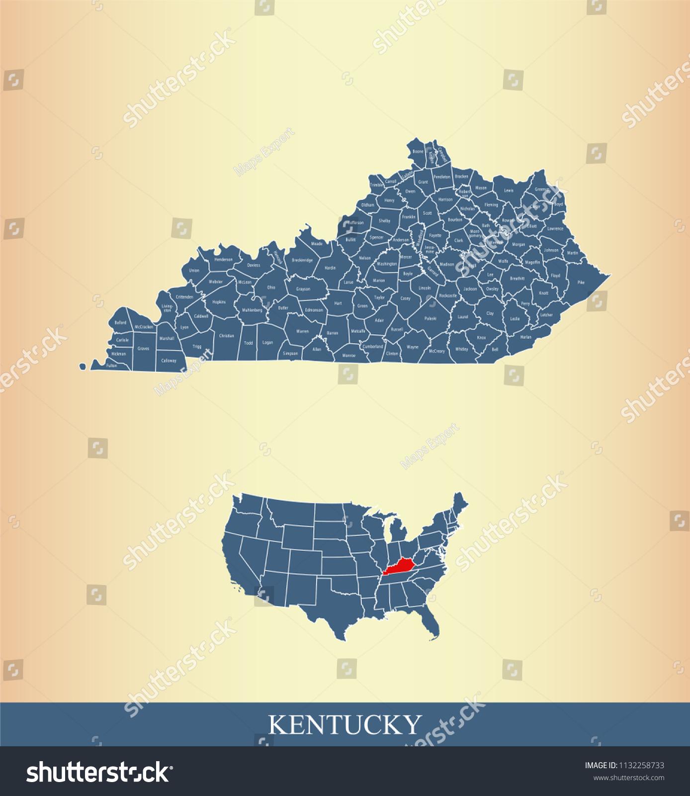 Kentucky County Map Vector Outline Counties Stock Vector ...