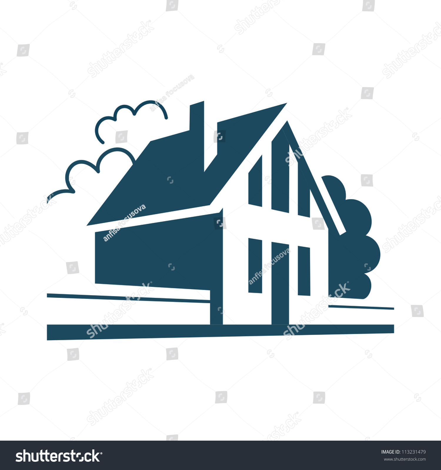Vector House Simple Stylized Icon Of Cottage In The Village Perspective View Street