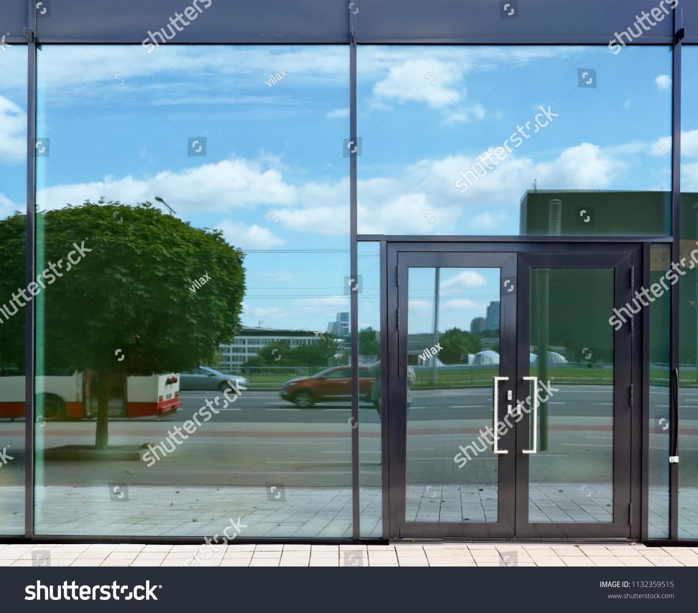 Glass Door Windows Sky City Street Stock Photo Edit Now 1132359515
