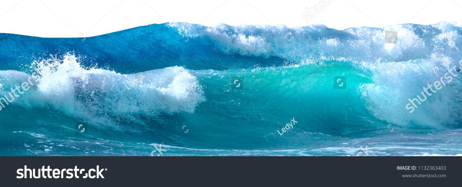 Beautiful sea waves with foam of blue and turquoise color isolated on white background #1132363403