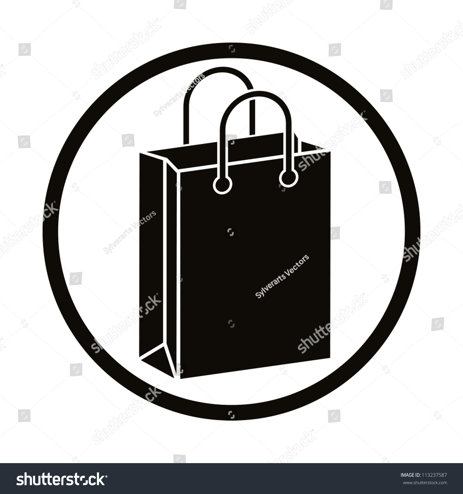 Shopping Bag Vector Icon Stock Vector 113237587 - Shutterstock