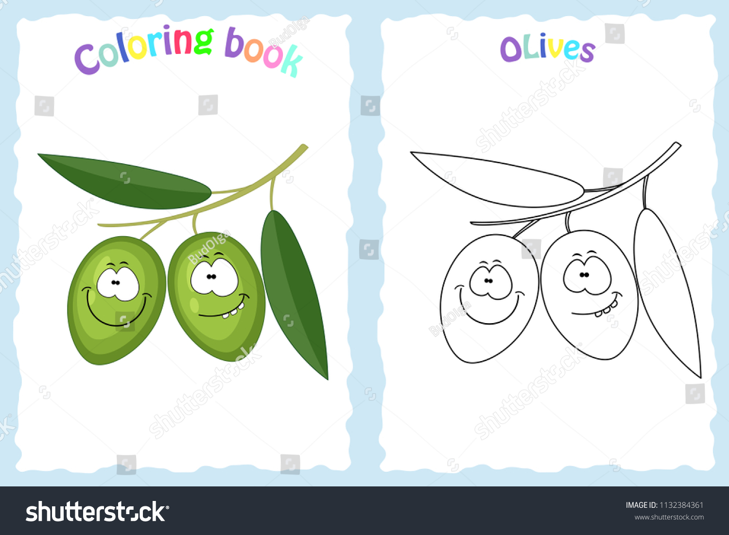 Coloring Book Page Children Colorful Olives Stock Vector 1132384361 ...