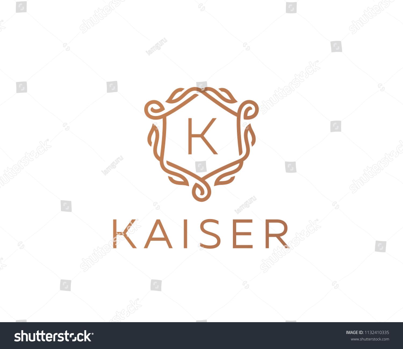 Premium Linear Shield Monogram Letter K Stock Illustration