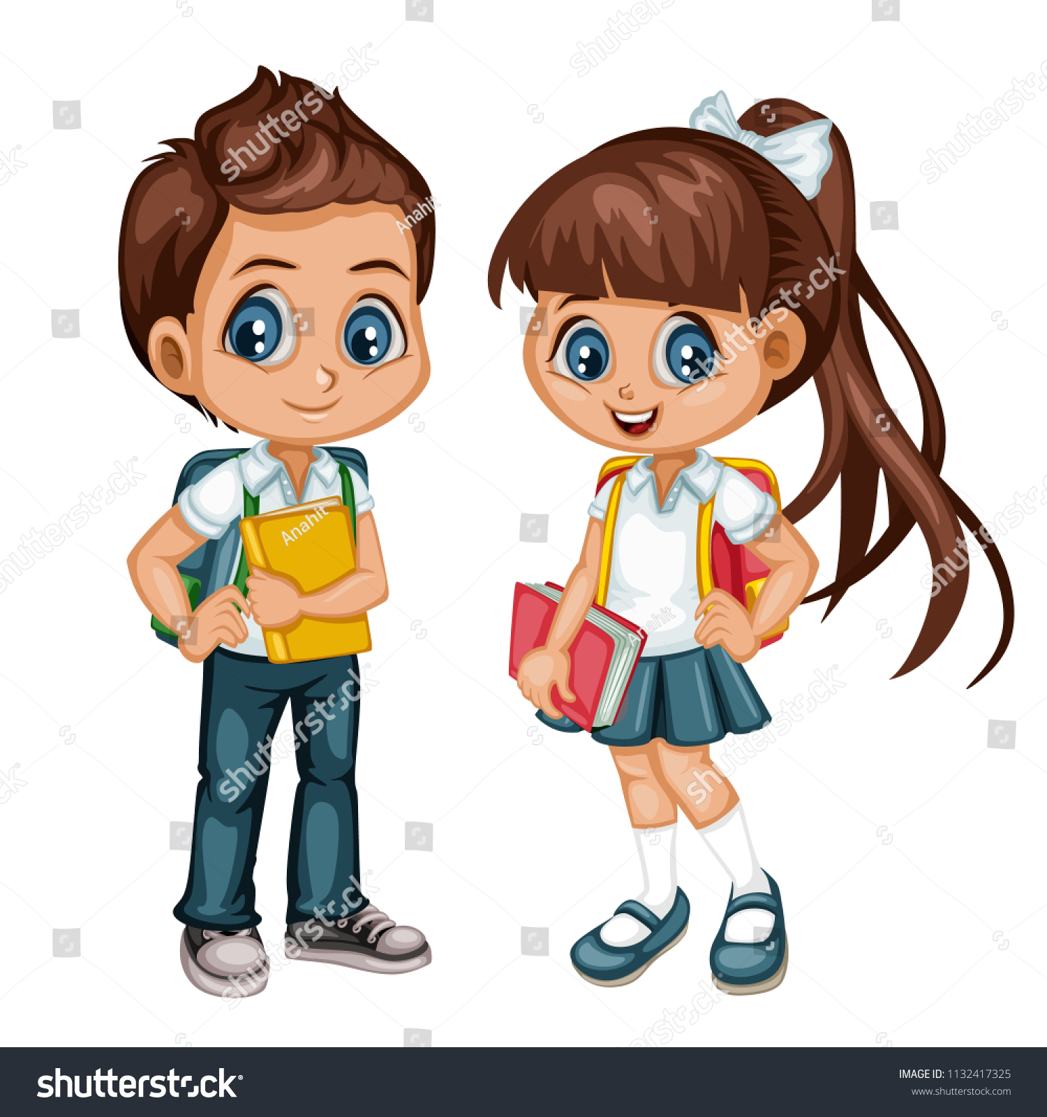 Cartoon Vector Illustration School Boy Girl Stock Vector Royalty