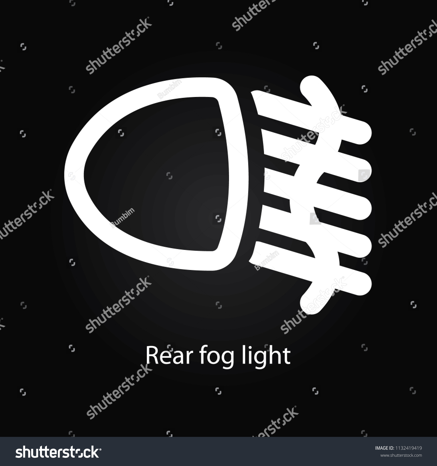 Rear Fog Light Warning Symbol Stock Illustration 1132419419