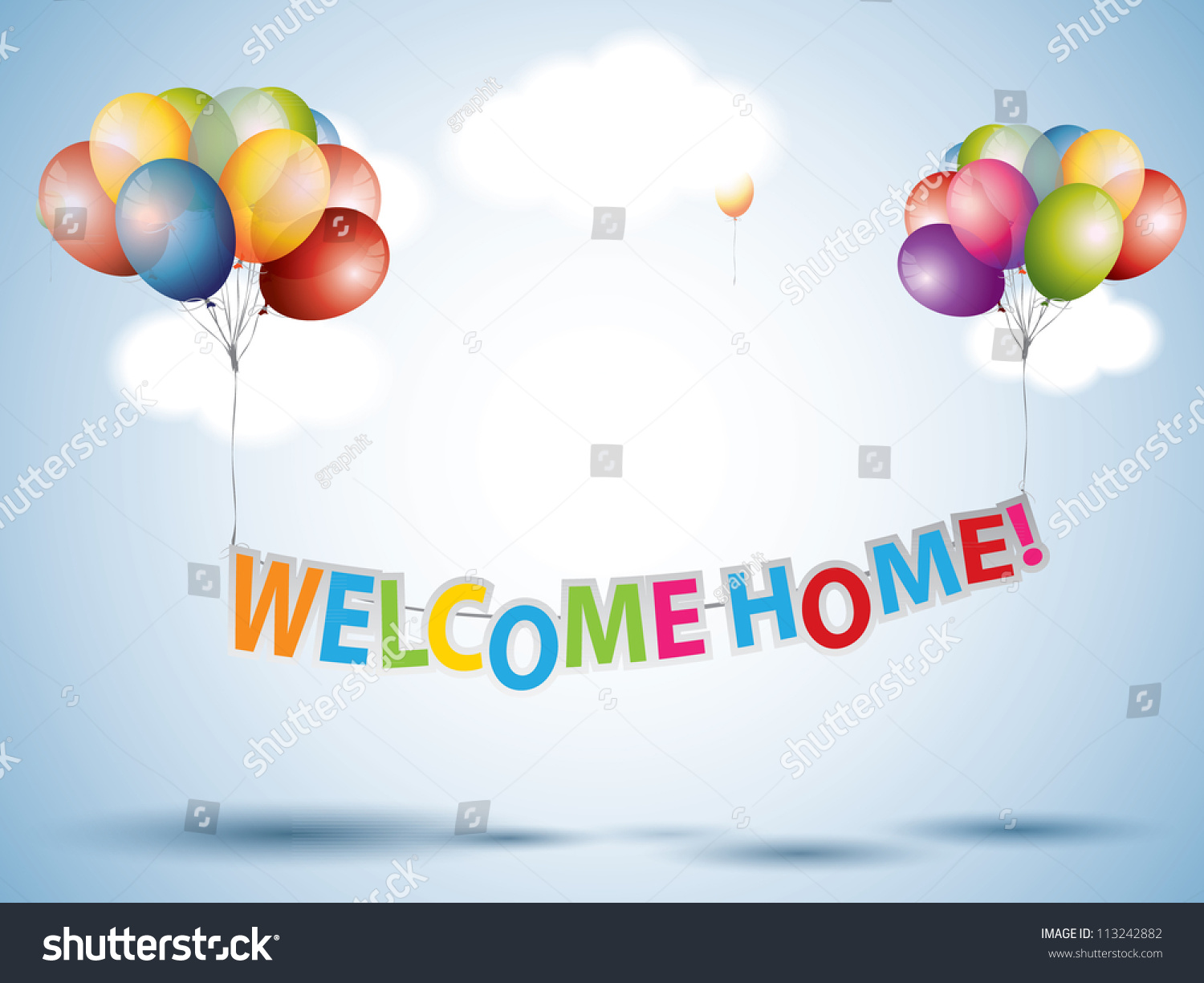 Welcome Home Text Colorful Balloons Stock Vector 113242882 ...