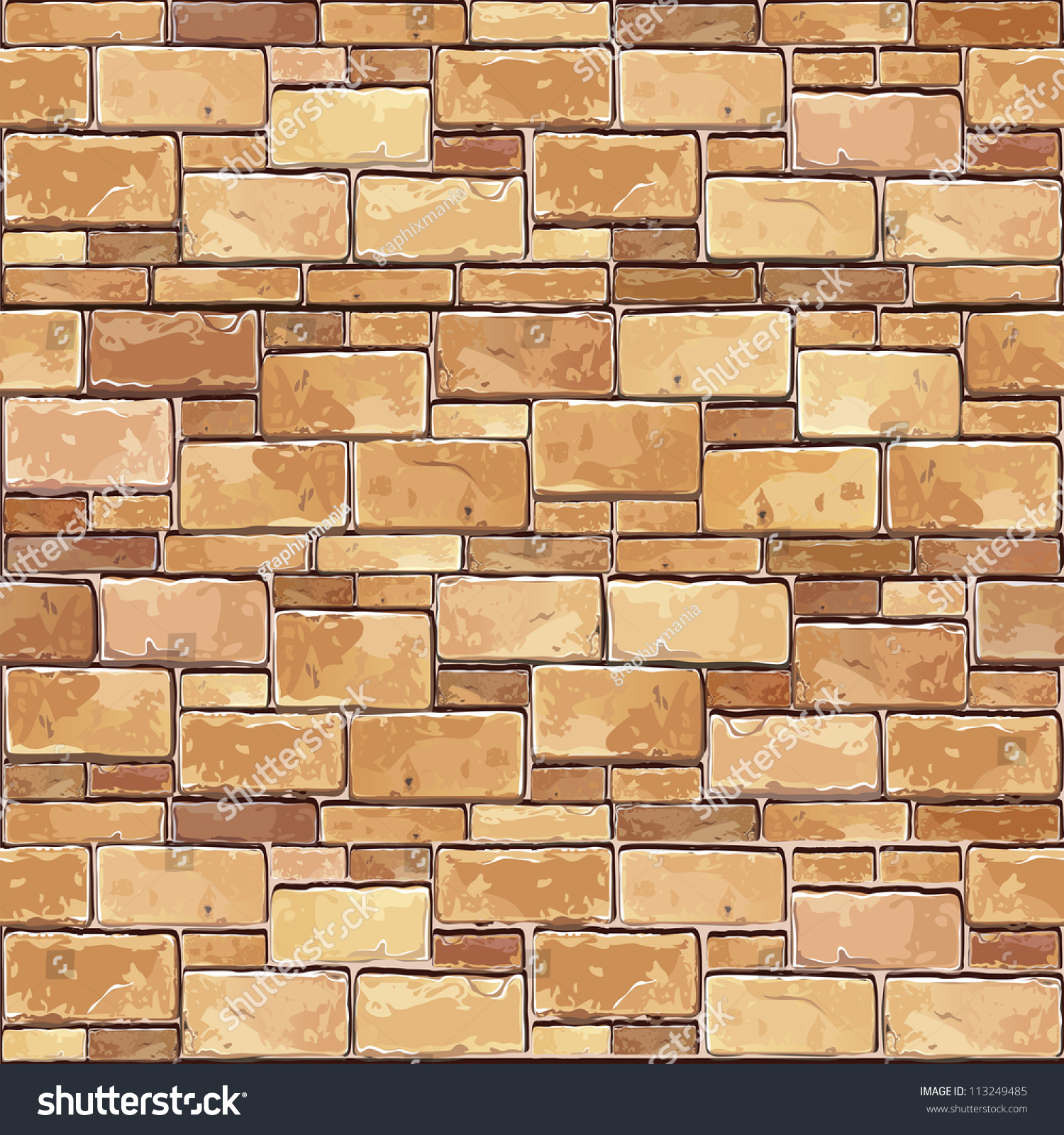 Stone Brick wall seamless Vector illustration background texture pattern  for continuous replicate  Stone Brick Wall. Stone Brick Texture Seamless