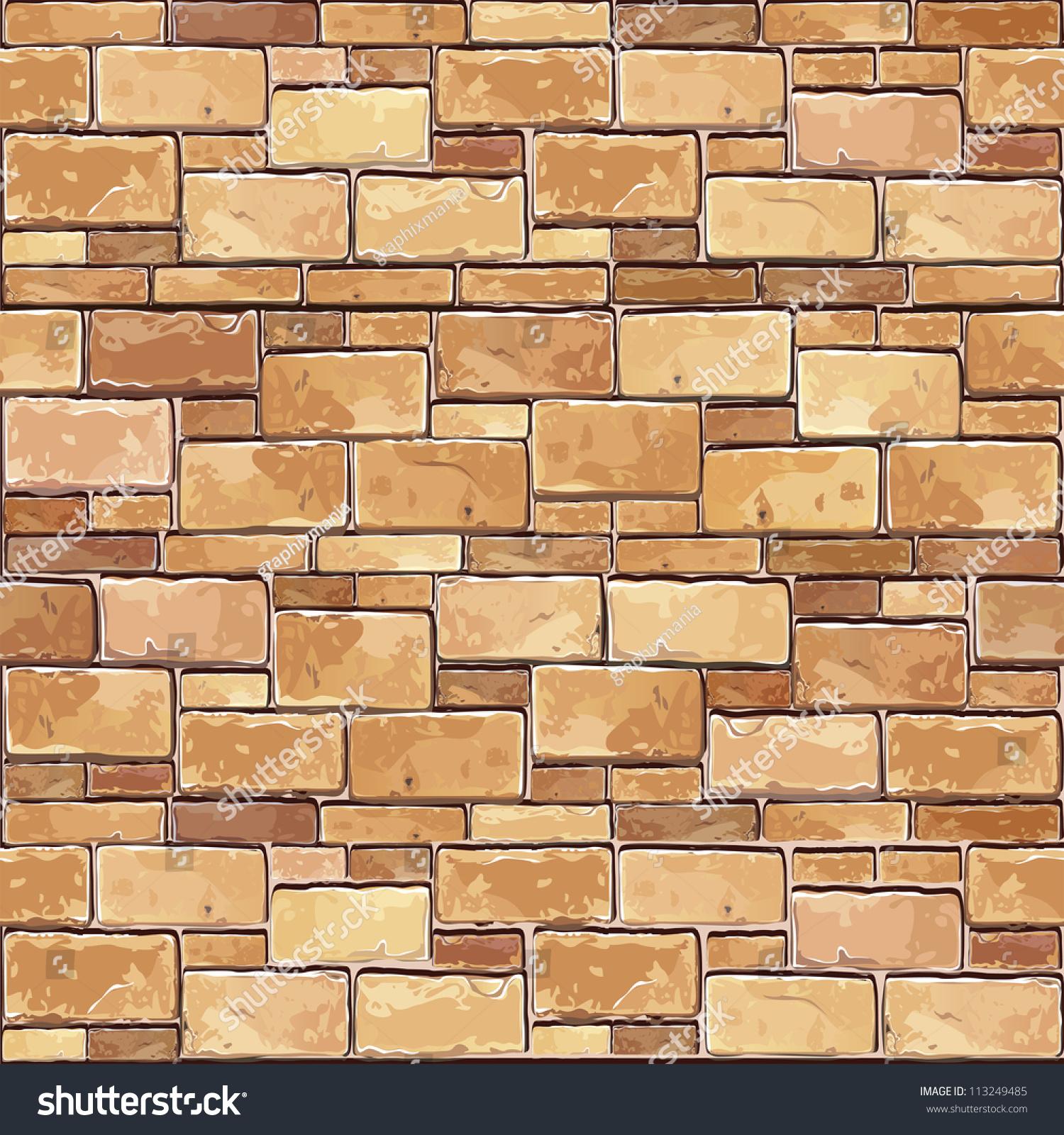 Stone Brick Wall Seamless Vector Illustration Stock Vector