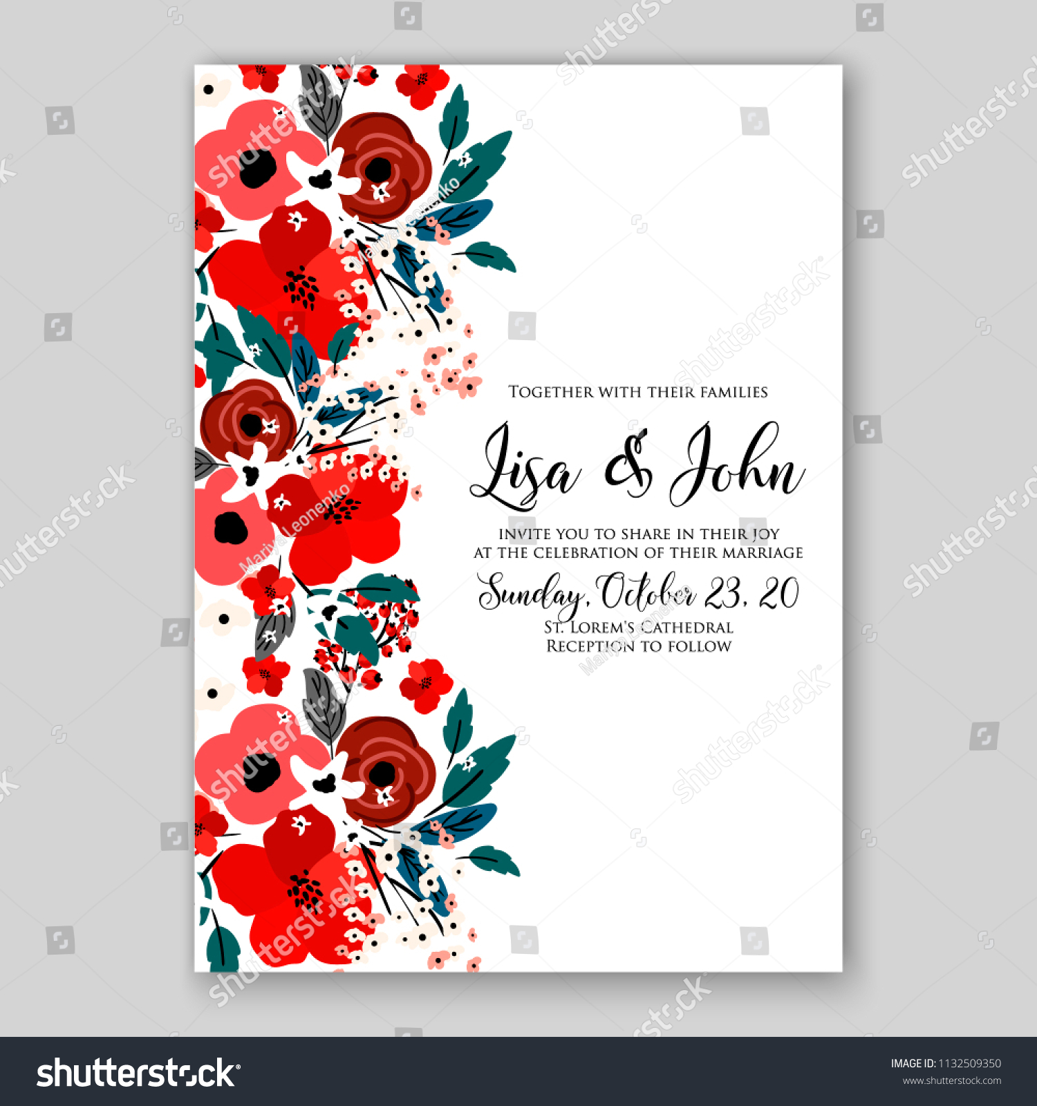 Wedding Invitation Card Flower Red Rose Stock Vector (Royalty Free ...