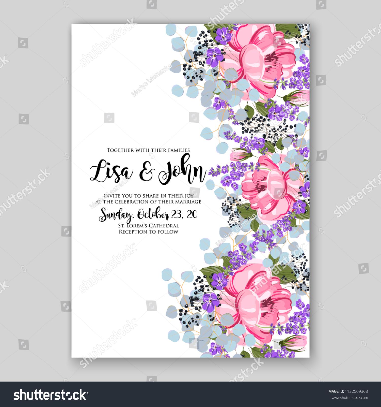 Wedding Invitation Card Flower Pink Peony Stock Vector (Royalty Free ...