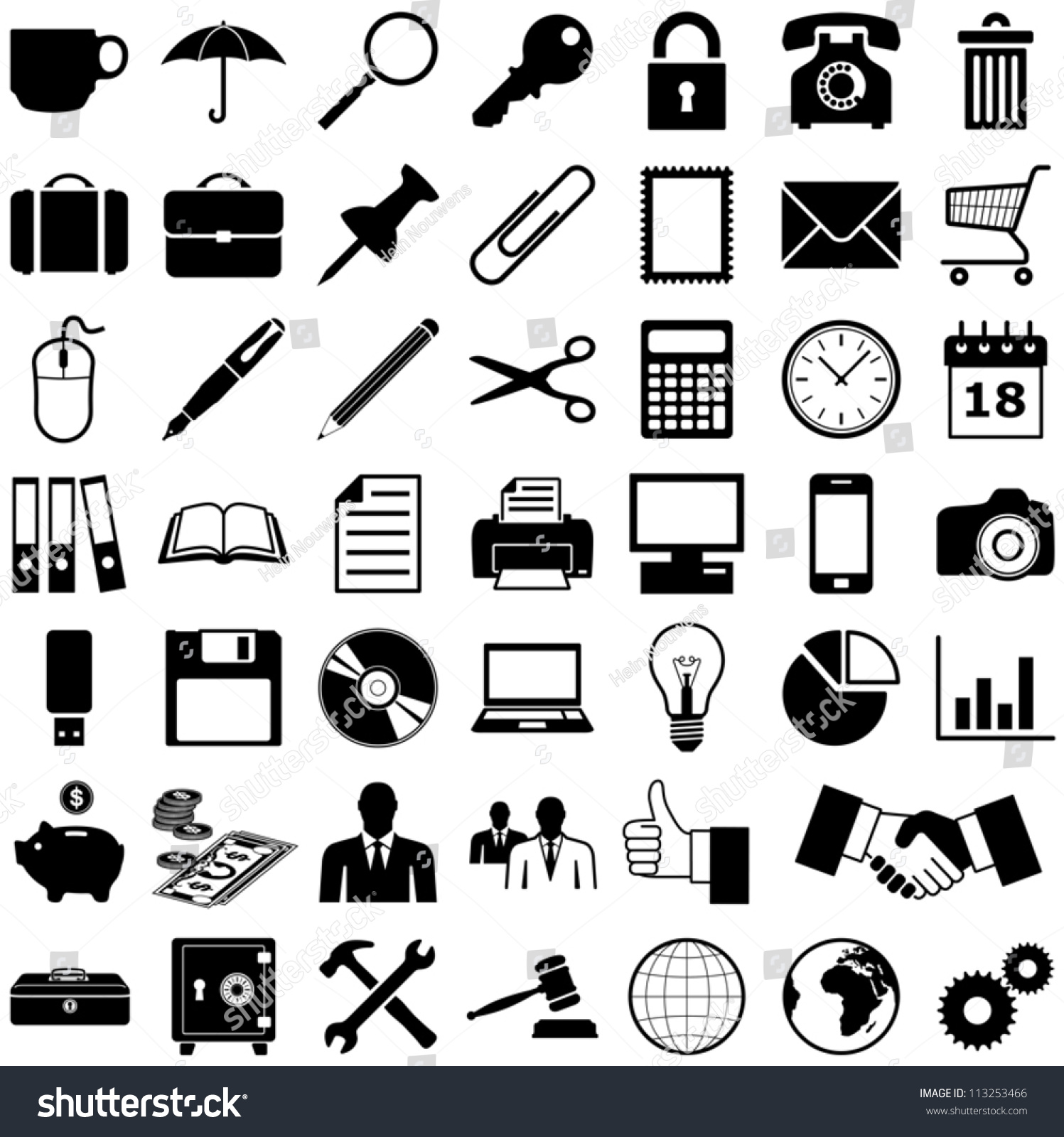Business Finance Office Icons Collection Vector Stock Vector ...
