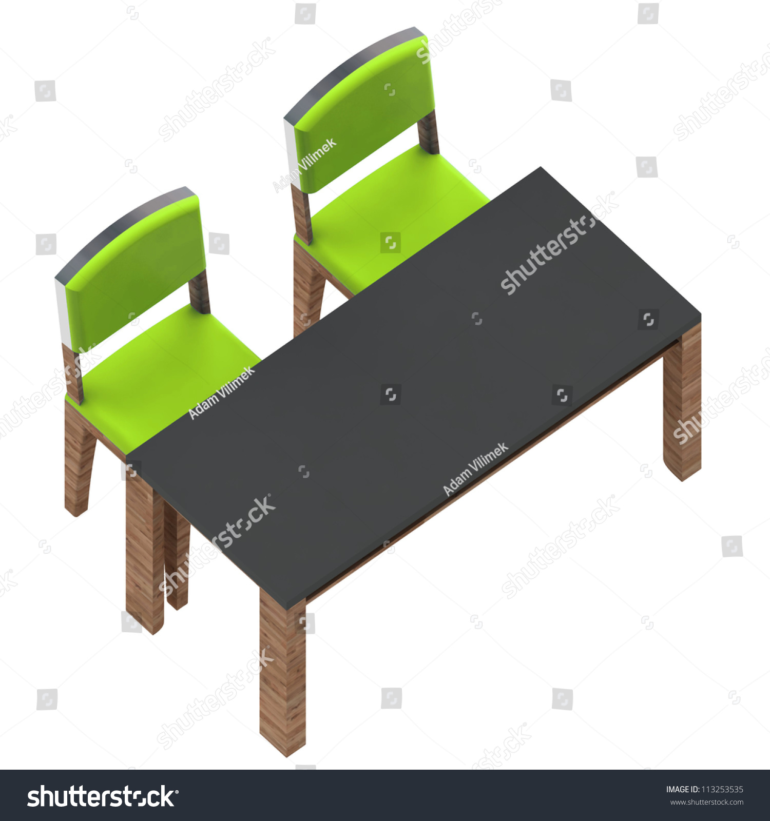 Isolated School Classroom Workplace Table Two Stock Illustration