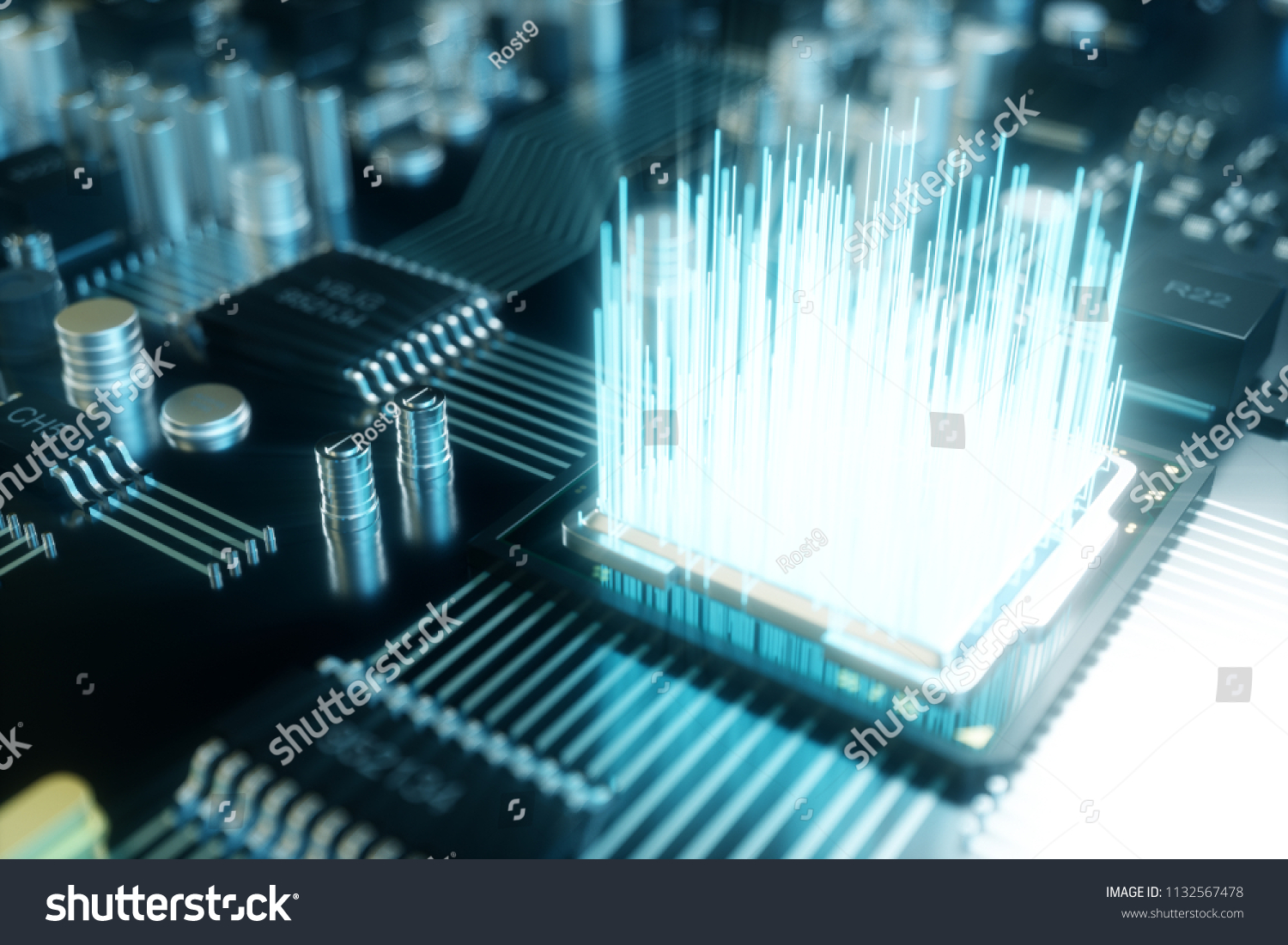 Royalty Free Stock Illustration Of 3 D Computer Chip Detail A Printed Circuit Board Image 3d Processor On The Concept