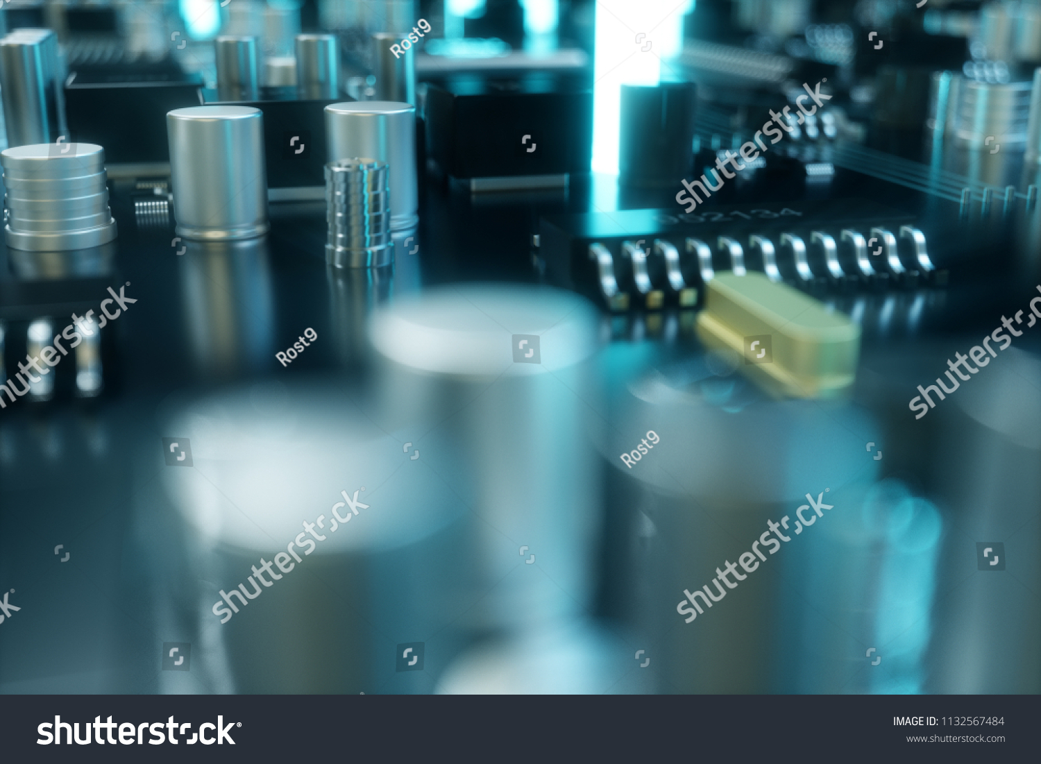 3 D Illustration Computer Chip Processor On Stock Pcb The Printedcircuitboard 3d Royalty Free Photography A Printed Circuit Board Concept Of