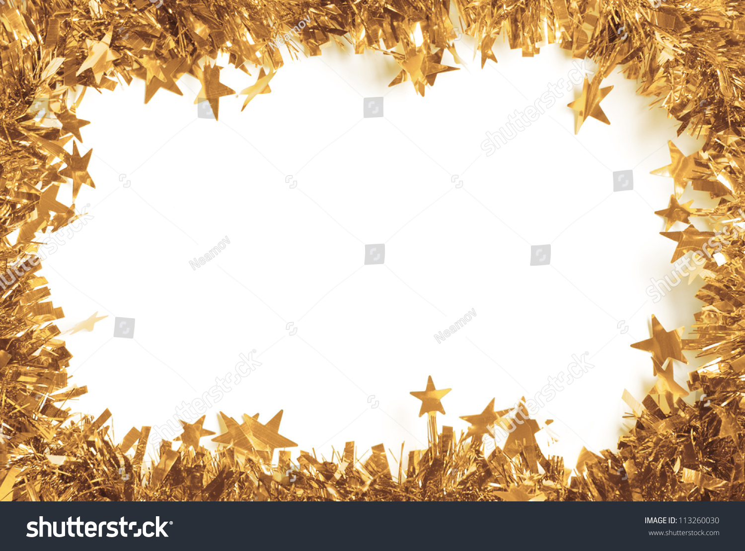 Christmas Gold Tinsel Border Isolated Against Stock Photo