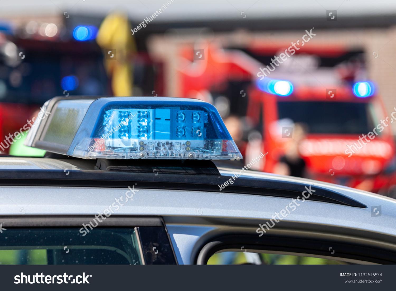 Blue Light Bar On German Police Stock Photo Edit Now