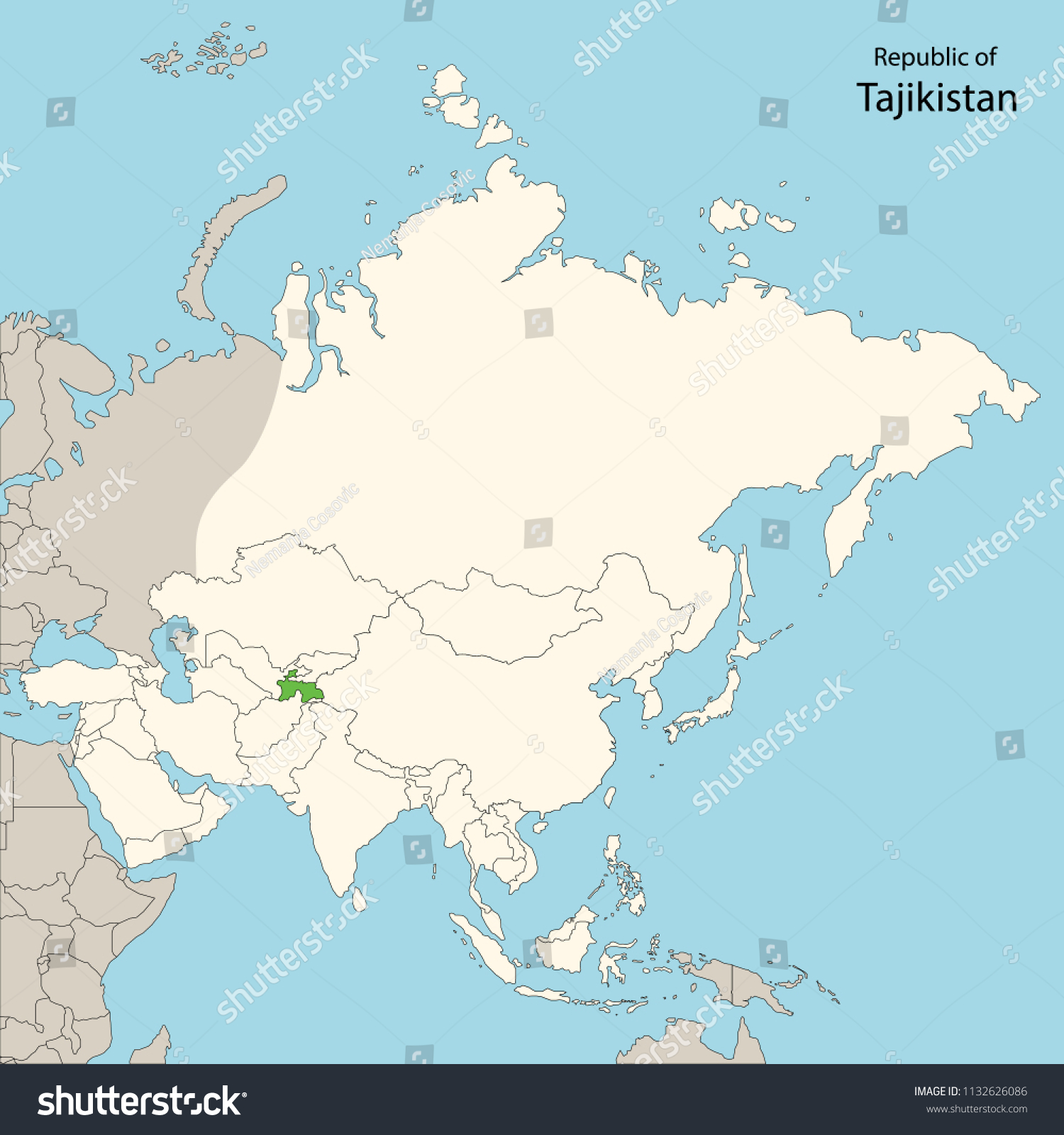 Asia Map Tajikistan Stock Vector (Royalty Free) 1132626086 ...