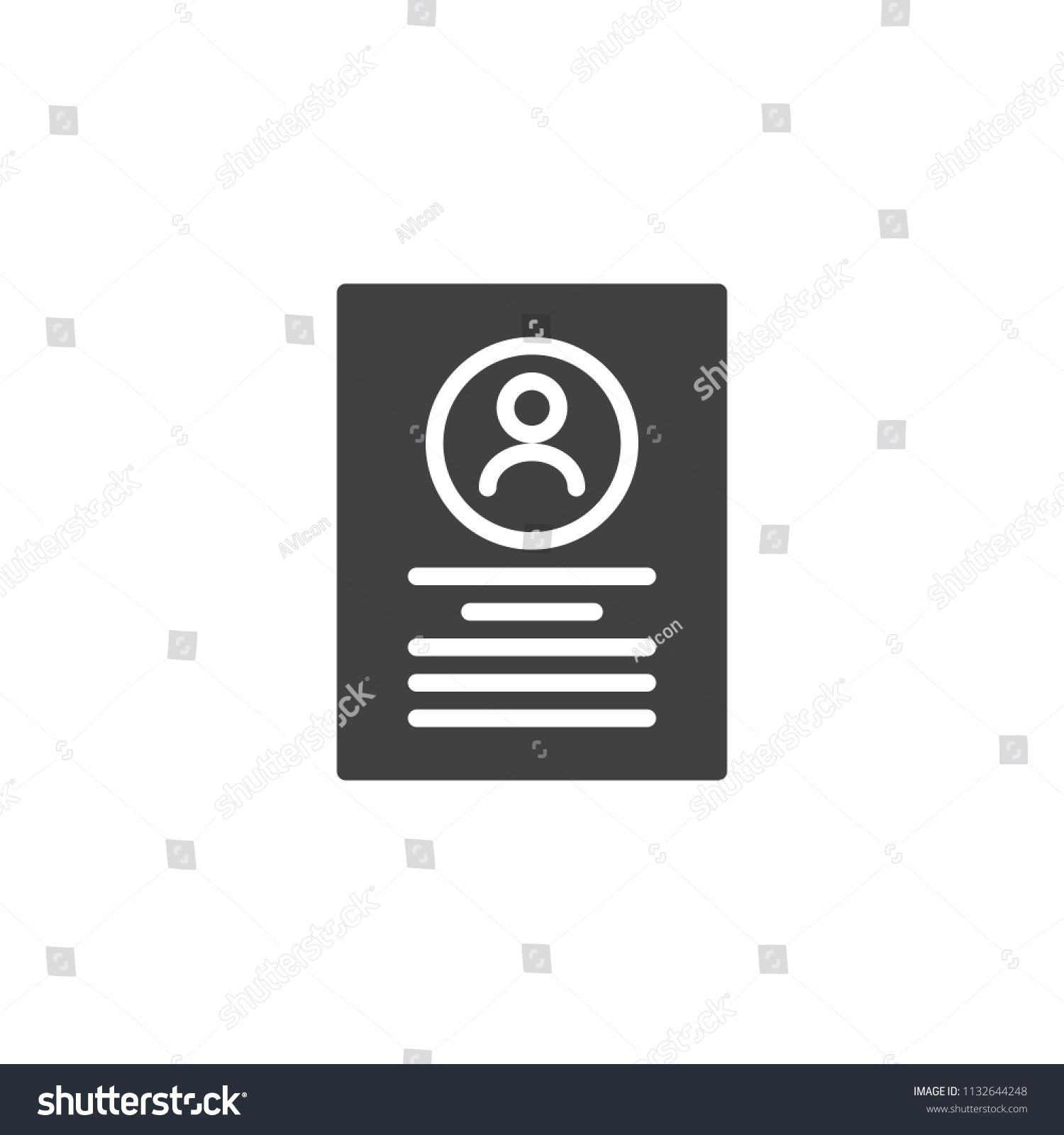 Resume Cv Document Vector Icon Filled Stock Vector (Royalty Free ...