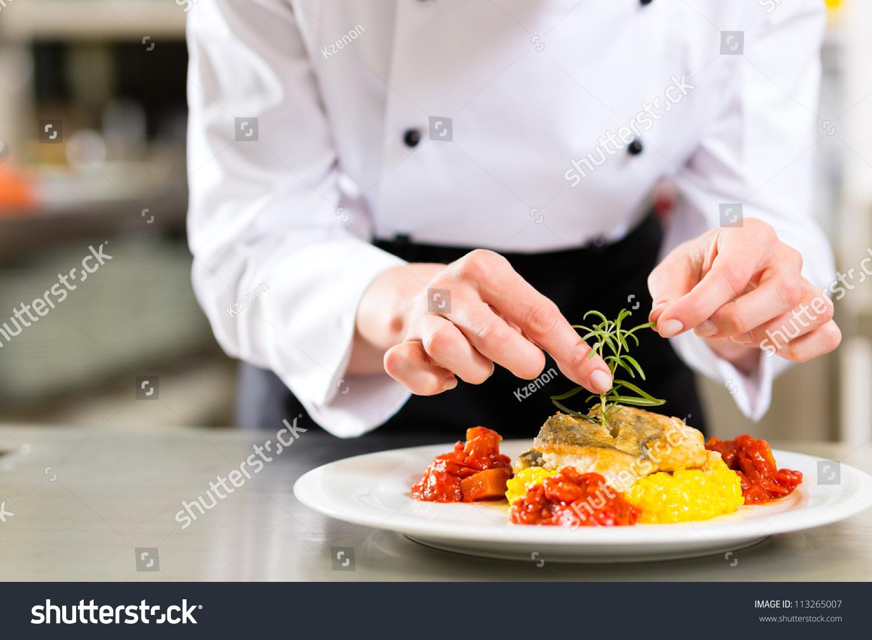 Chef Kitchen Female Chef Hotel Restaurant Kitchen Cooking Stock Photo 113265007