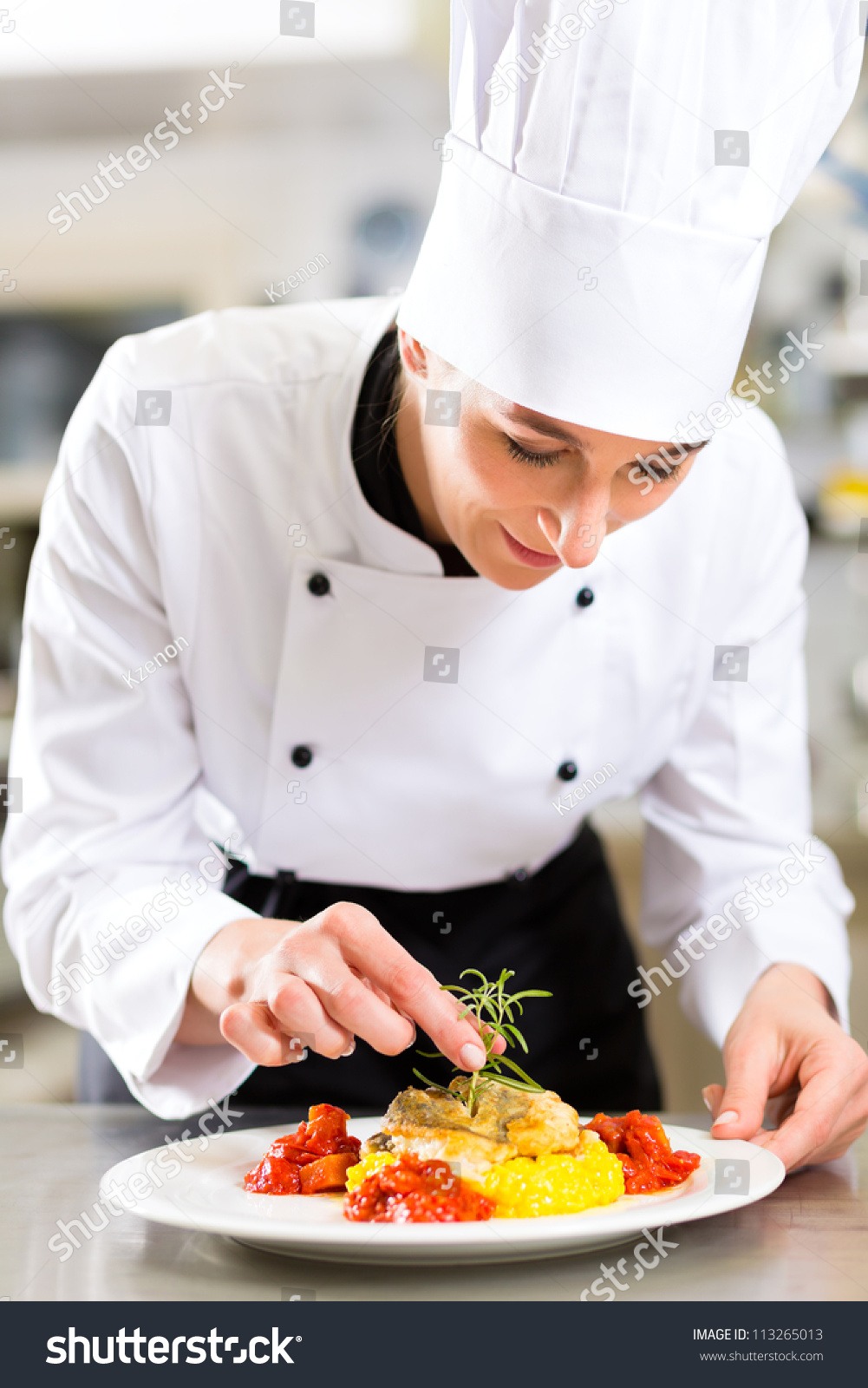 Female Chef Hotel Restaurant Kitchen Cooking Stock Photo (Safe to ...