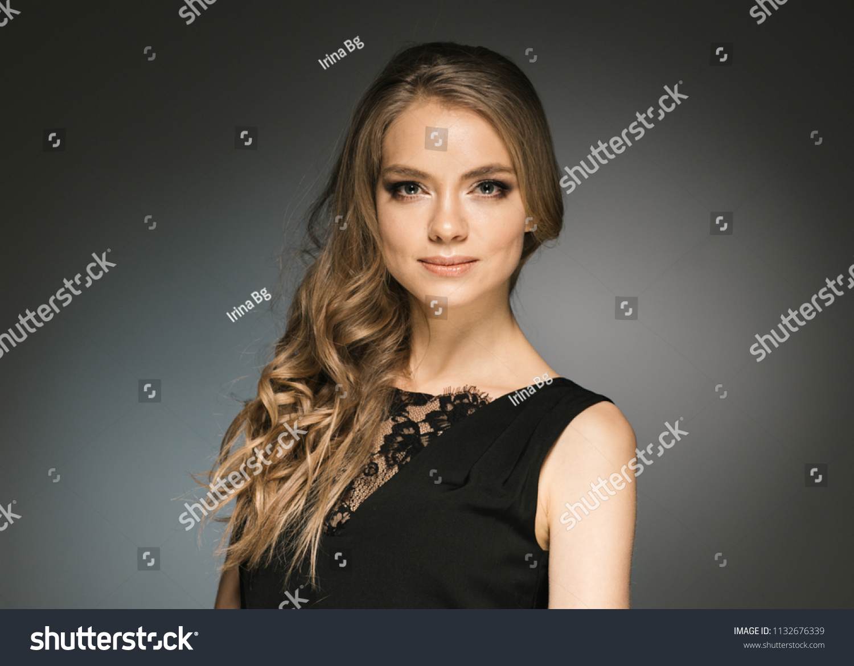 Blonde Curly Hair Woman Black Dress Stock Photo Edit Now