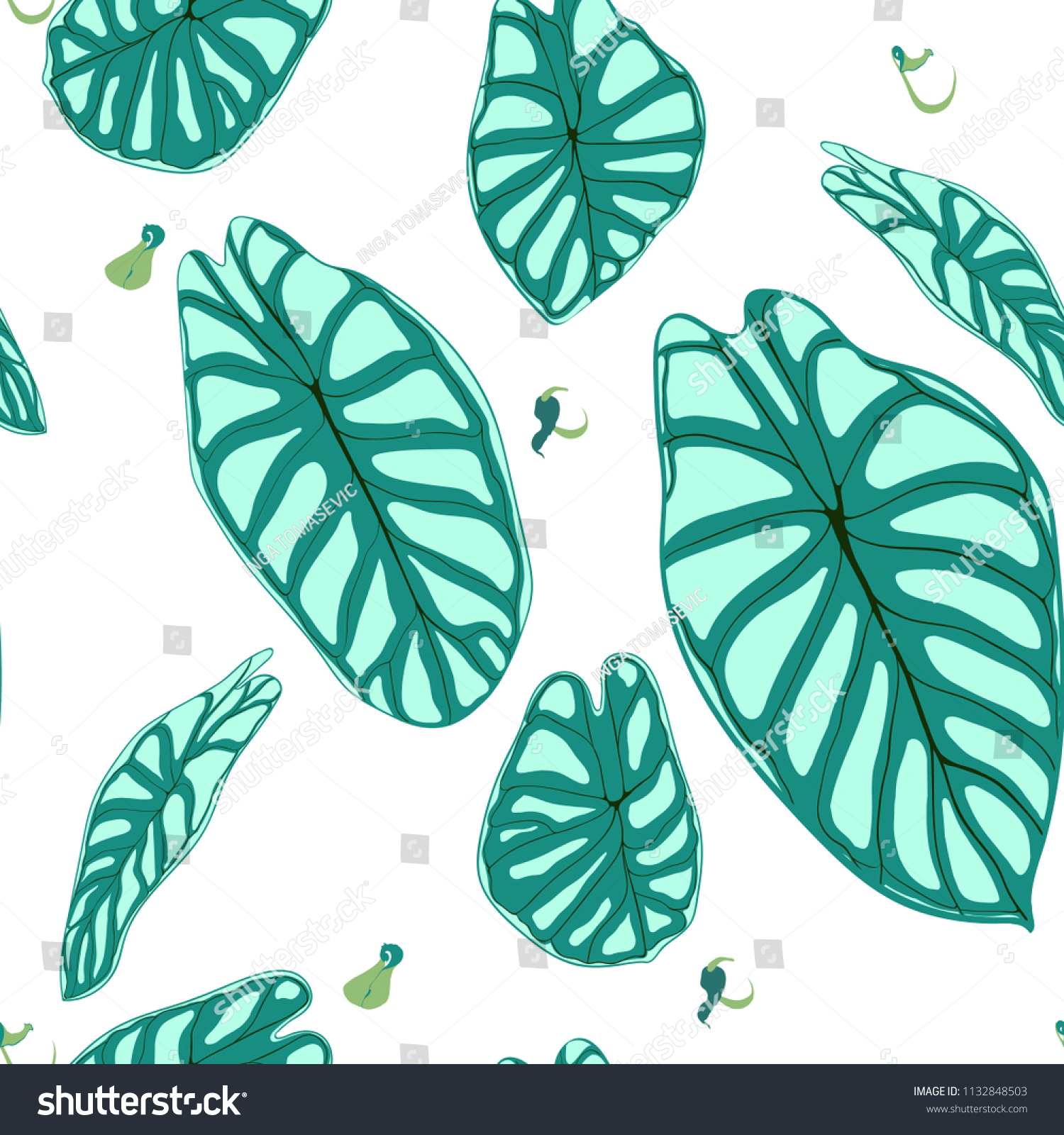 Seamless Tropical Pattern Trendy Background With Rain Forest Plants Vector