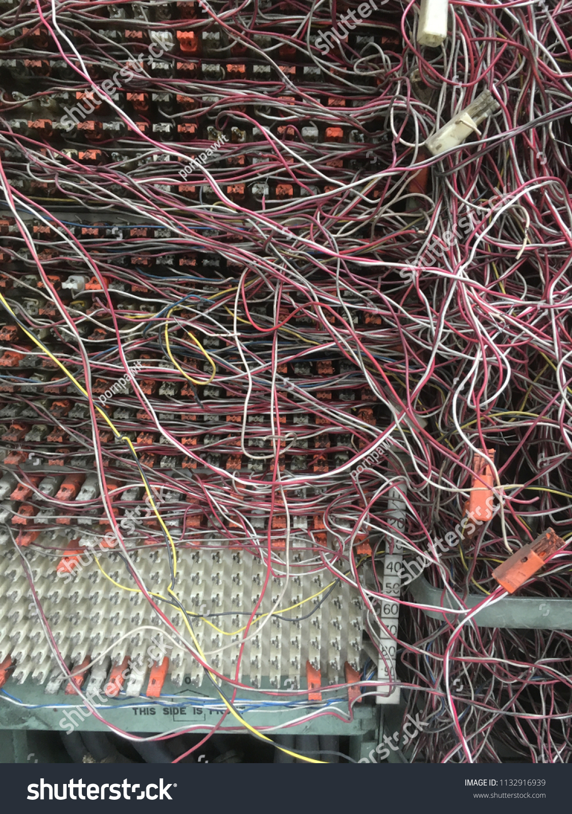 Messy Telephone Wire Switchboard Panel Stock Photo Edit Now Network Wiring The In
