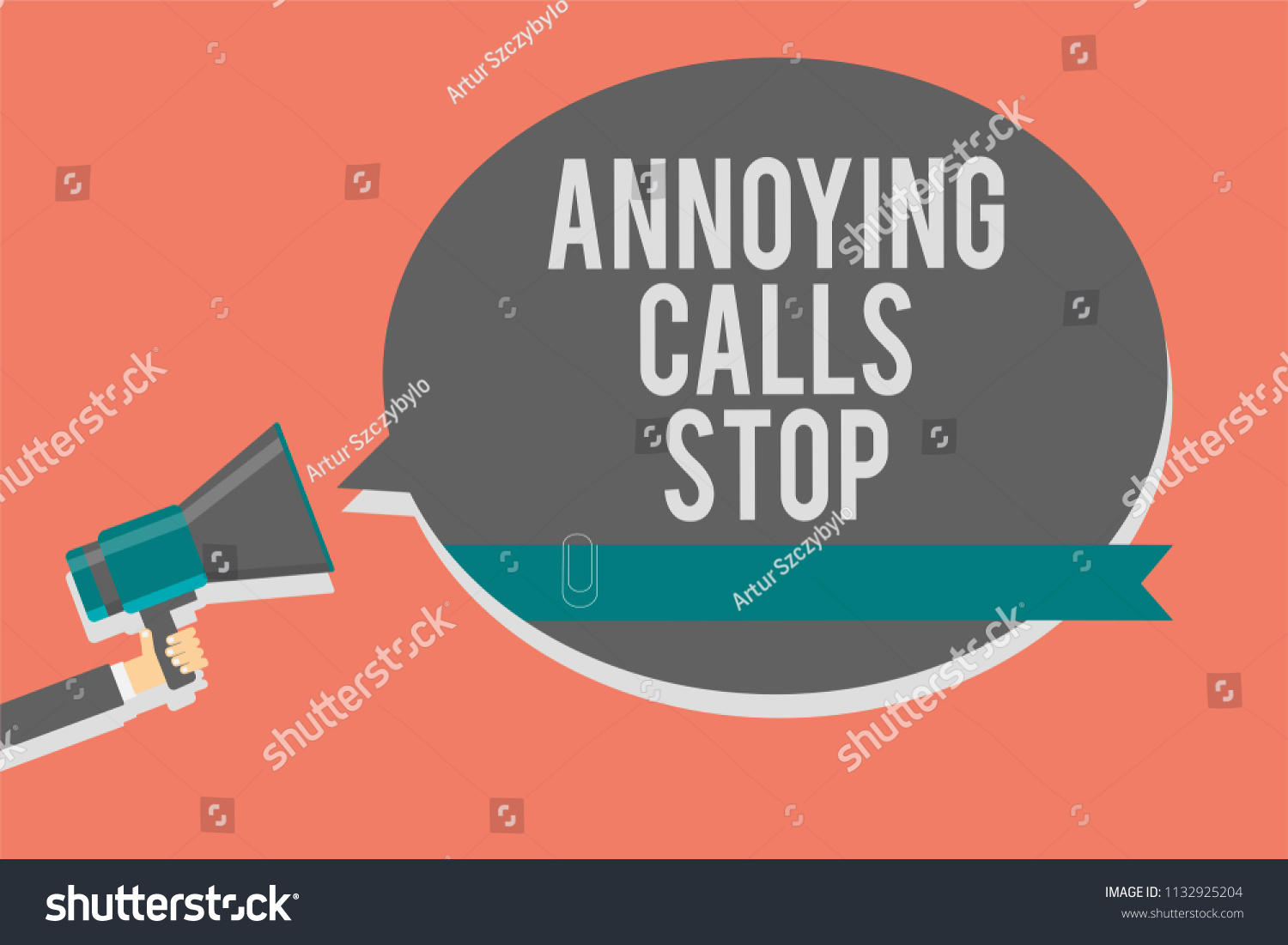Writing Note Showing Annoying Calls Stop Stock Illustration
