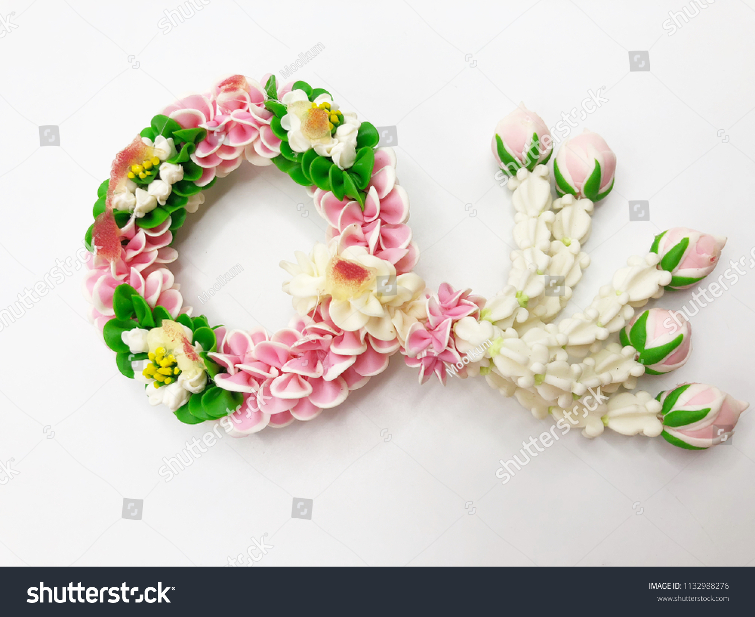 Artificial thai garland colorful flower on stock photo edit now artificial thai garland colorful flower on white background izmirmasajfo