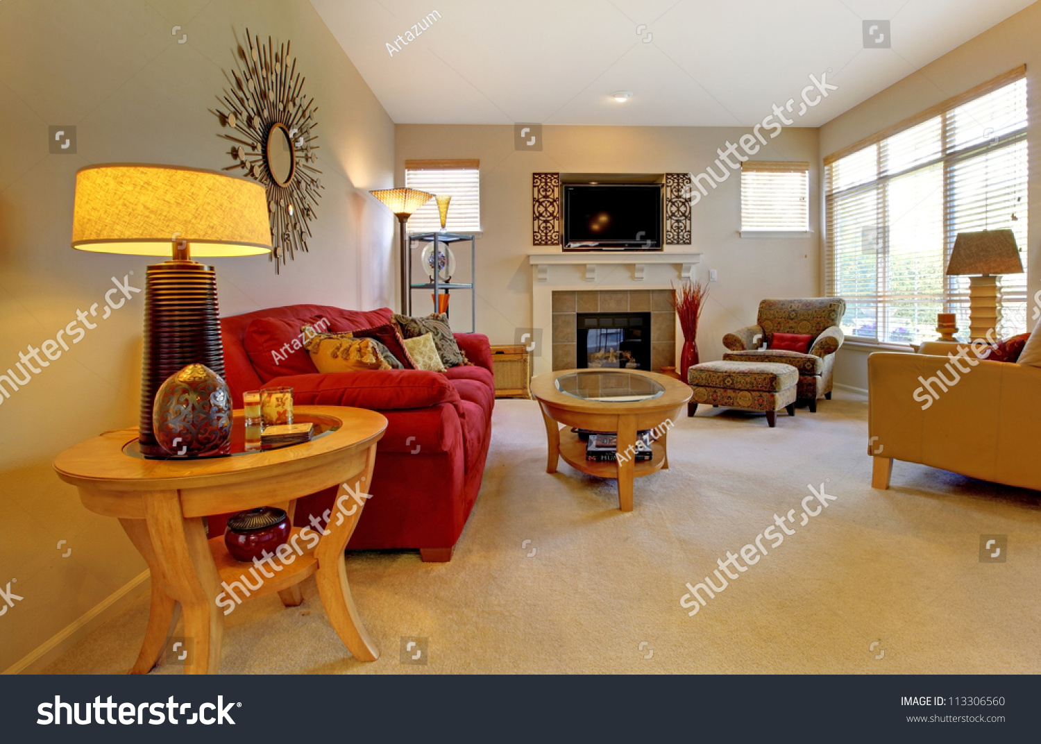 Living Room With Red Furniture Elegant Living Room With Red Sofa Fireplace Tv And Many Windows