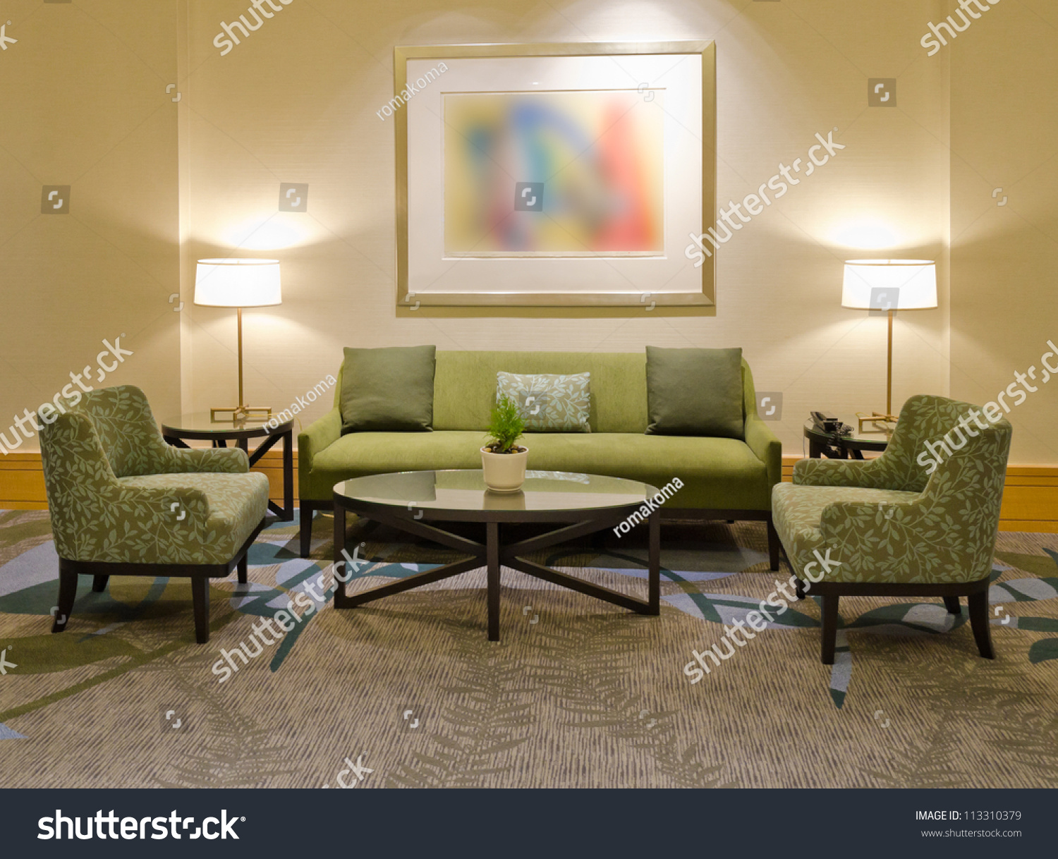 Lounge Area Hotel Fragment Lobby Five Stock Photo