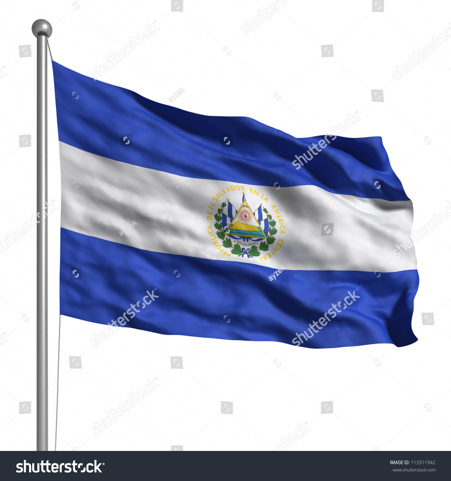 02cfa63c9b0 Flag of El Salvador. Rendered with fabric texture (visible at 100%).  Clipping path included. - Illustration