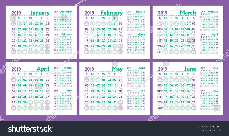 Calendar 2019 Vector English Calender January Stock Vector Royalty