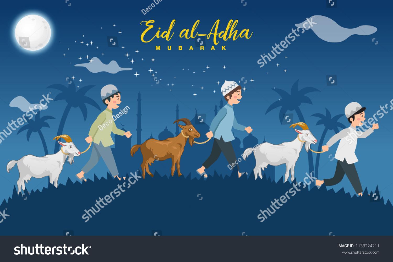 Eid Al Adha Greeting Card Cartoon Stock Vector Royalty Free