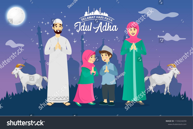Eid al adha greeting card cartoon stock vector royalty free eid al adha greeting card cartoon muslim family celebrating eid al adha with goats m4hsunfo