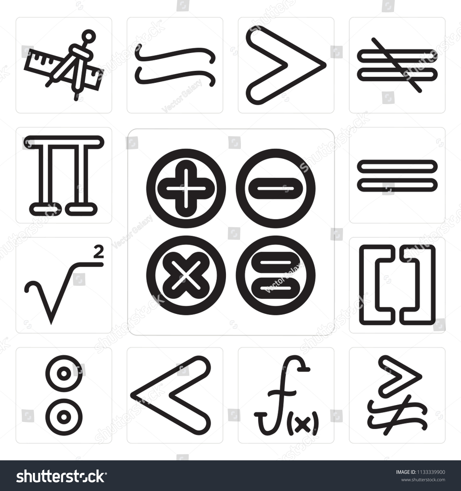 Set 13 Simple Editable Icons Such Stock Vector Royalty Free