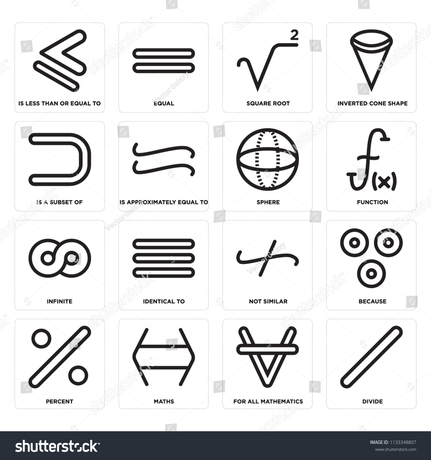Set 16 Icons Such Divide All Stock Vector Royalty Free 1133348807