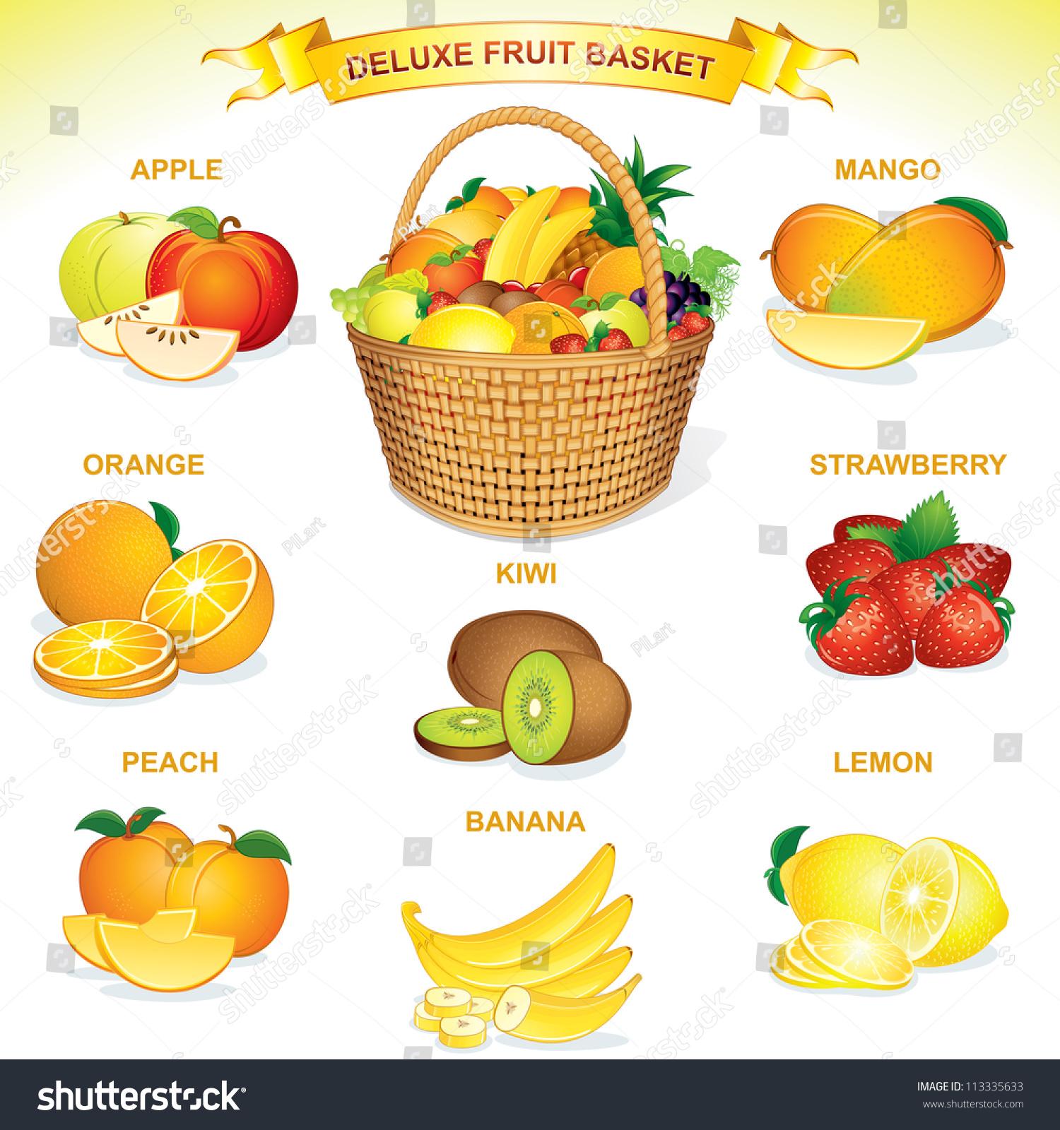 Deluxe Fruit Basket. Vector Illustration