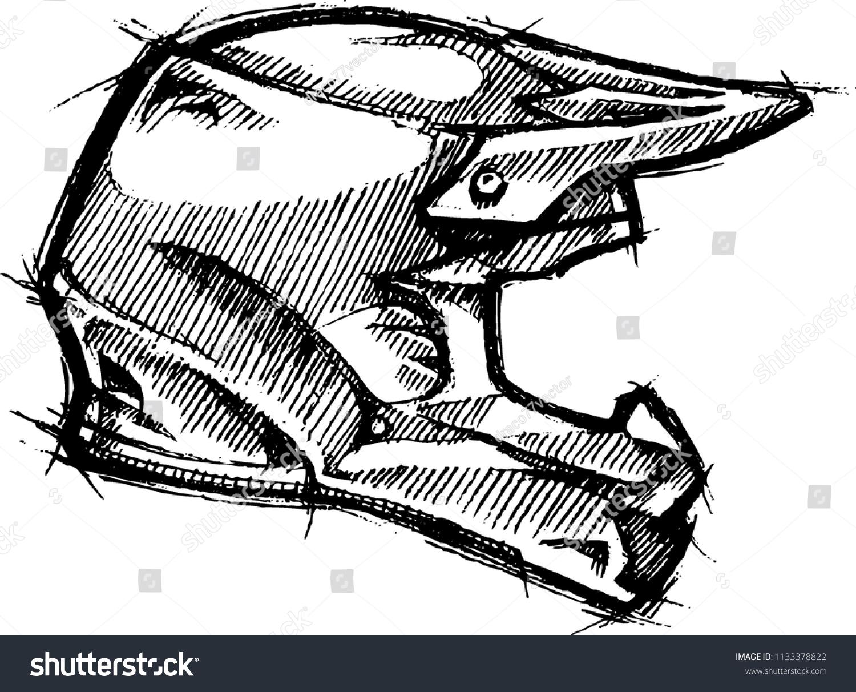 Dirt Bike Helmet Sketch Stock Vector Royalty Free 1133378822
