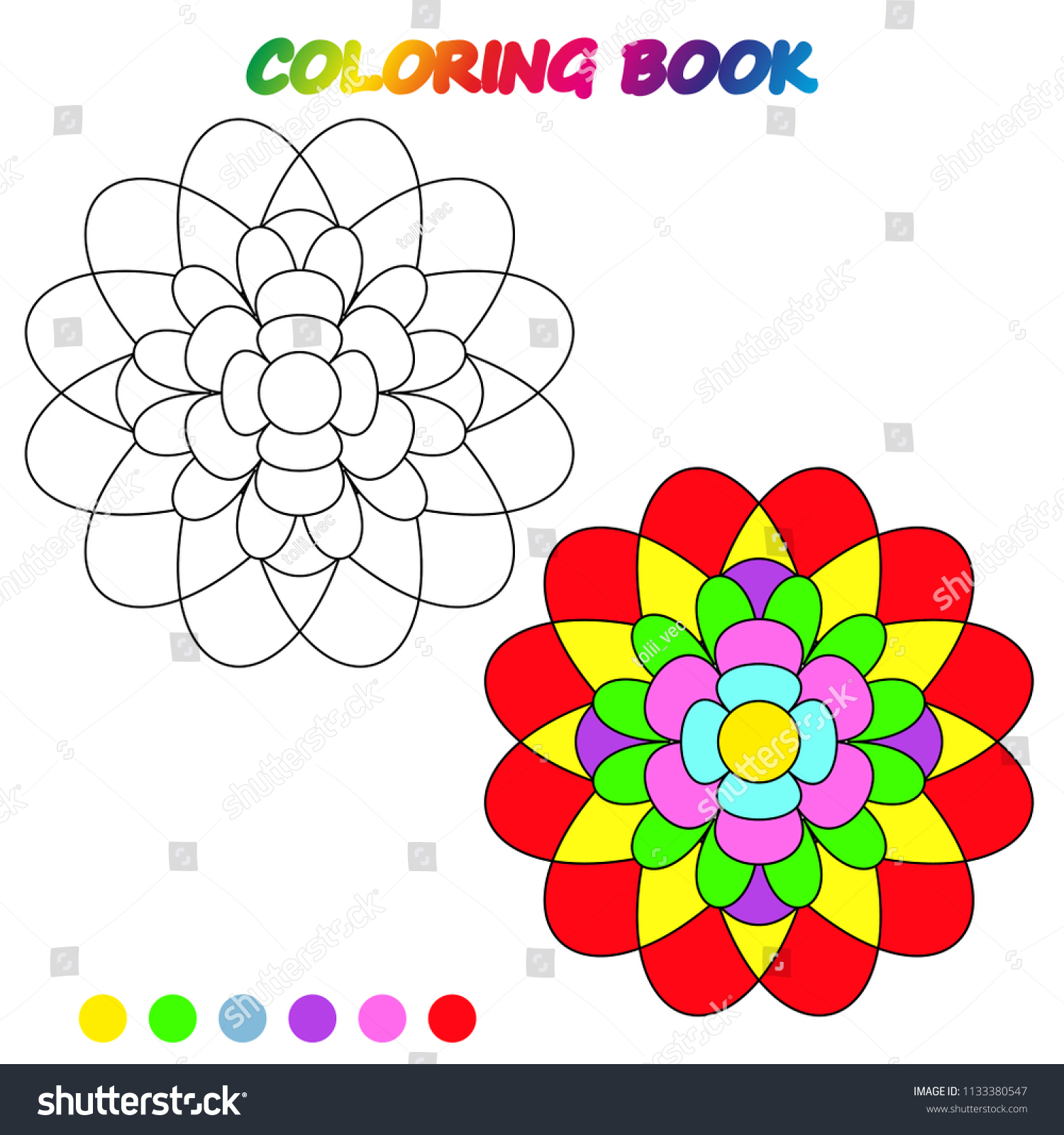 Flower Coloring Page Worksheet Game Kids Stock Photo (Photo, Vector ...