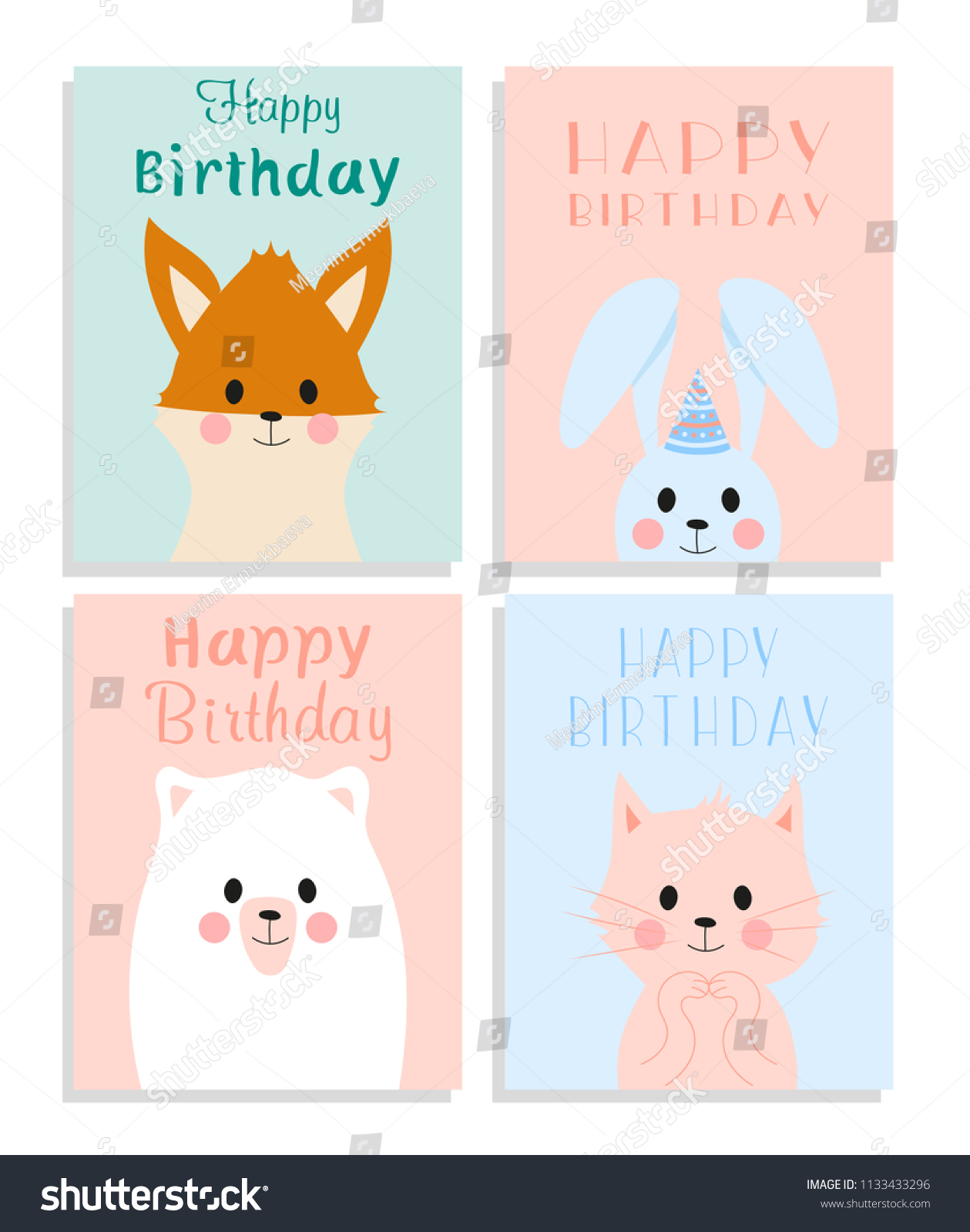 Set Of Cute Birthday Greeting Cards With Funny Cartoon Animals Fox Cat Bunny