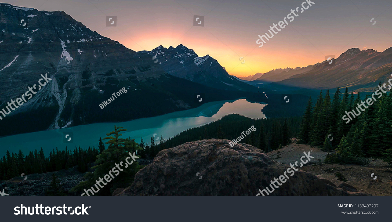 Beautiful Mountain Canada Nature Landscape Wallpaper Stock Photo