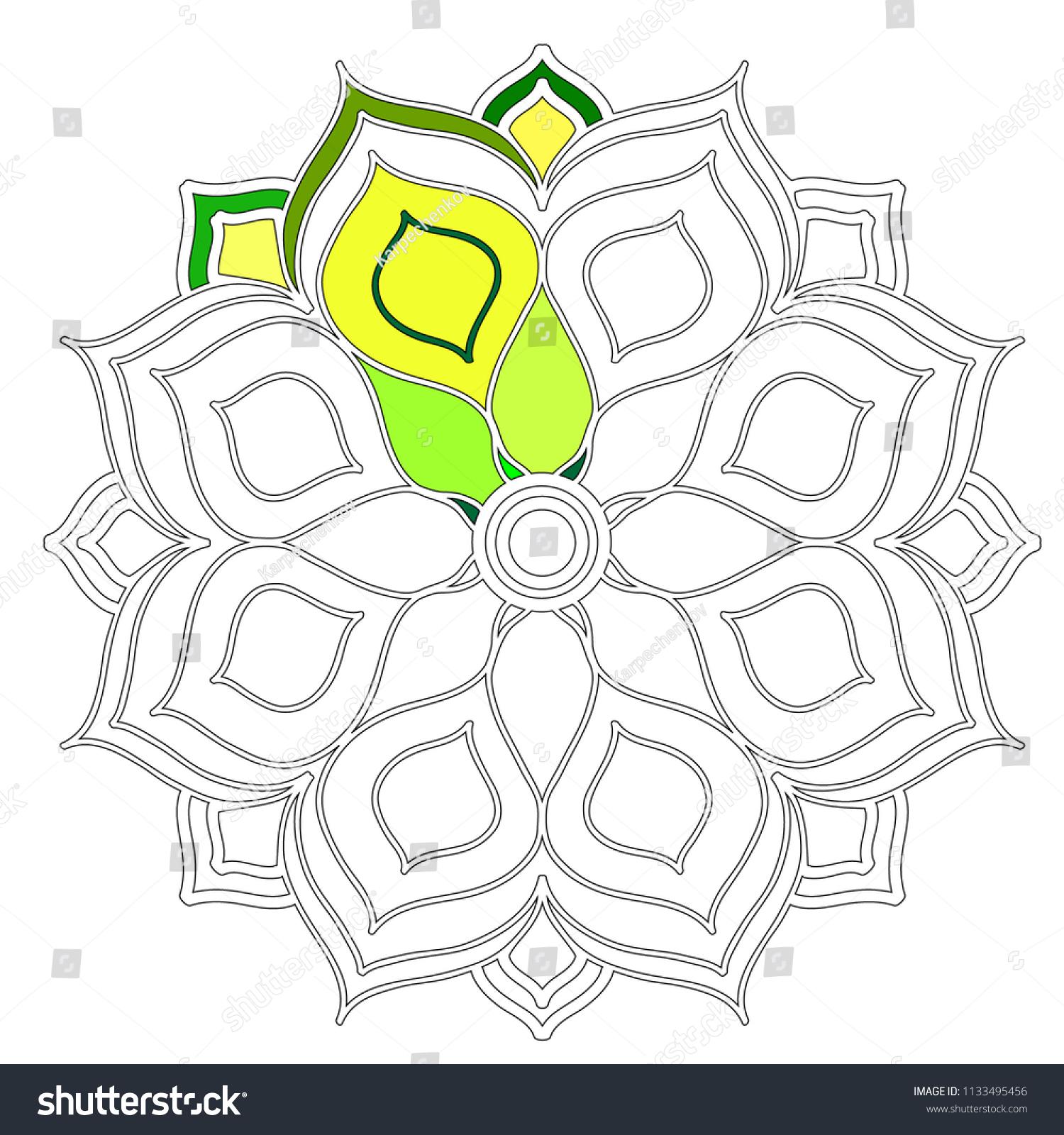 Mandalas Coloring Pages Kids Mandala Flower Stock Vector 1133495456 ...