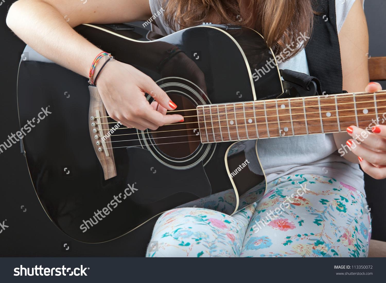 Young Beautiful Girl Playing Guitar Stock Photo Edit Now 113350072
