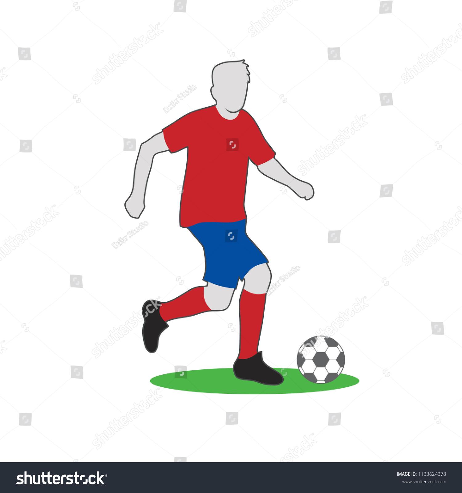 football player dribbling ball vector illustration stock vector