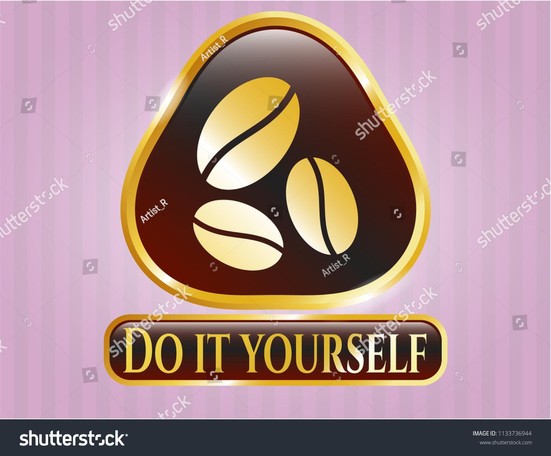 Gold badge coffee bean icon do stock vector 1133736944 shutterstock gold badge with coffee bean icon and do it yourself text inside solutioingenieria Choice Image