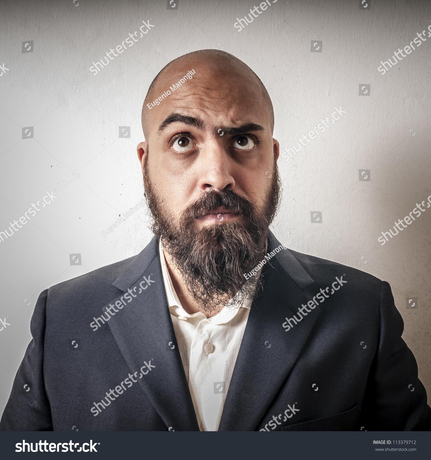 Remarkable Man Suit Beard Strange Expressions On Stock Photo 113379712 Short Hairstyles Gunalazisus